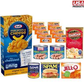 macarrones, spam, salchichas, salsa de tomate, sazón, papa, gelatina